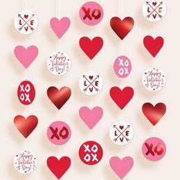 XOXO és Love Feliratú Függő Dekoráció, 5 db-os