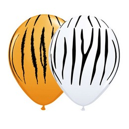 11 inch-es Zebra & Tiger Stripes Assortment Lufi (50 db/csomag)