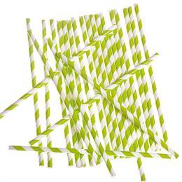 Zöld-Fehér Csíkos Papír Parti Szívószál - 24 db-os, 19,5 cm